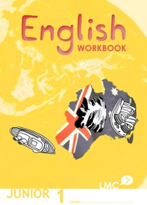 Couverture du cahier d'exercice d'anglais pour adolescents, niveau junior 1 / Junior English workbook cover, level 1