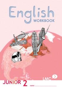 Couverture du cahier d'exercice d'anglais pour adolescents, niveau junior 2 / Junior English workbook cover, level 2