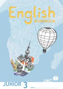 Couverture du cahier d'exercice d'anglais pour adolescents, niveau junior 3 / Junior English workbook cover, level 3