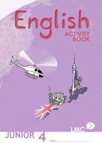 Couverture du cahier d'exercice d'anglais pour adolescents, niveau junior 4 / Junior English workbook cover, level 4