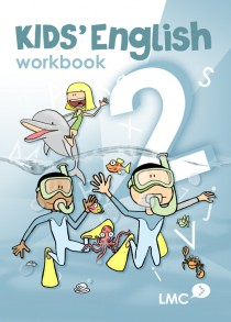 Couverture du cahier d'exercice d'anglais pour enfants, niveau 2 / Kids English workbook cover, level 2