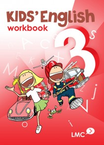 Couverture du cahier d'exercice d'anglais pour enfants, niveau 3 / Kids English workbook cover, level 3