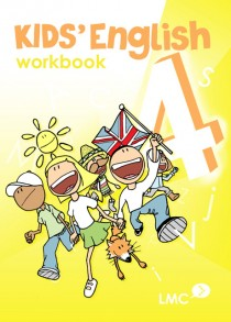 Couverture du cahier d'exercice d'anglais pour enfants, niveau 4 / Kids English workbook cover, level 4
