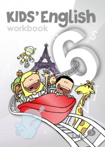 Couverture du cahier d'exercice d'anglais pour enfants, niveau 6 / Kids English workbook cover, level 6