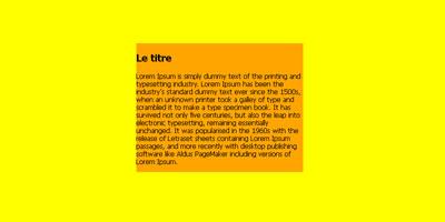 Div orange contenant du texte sur un fond jaune.