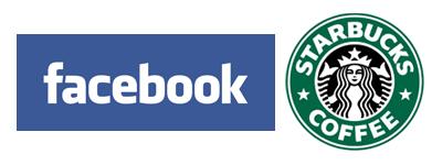 Logo Facebook et Starbucks