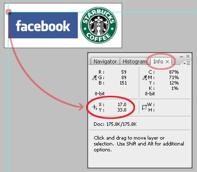 Panneau info de Photoshop CS 3 ouvert et montrant les coordonnées du bord haut gauche du logo Facebook.