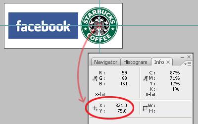 Panneau info de Photoshop CS 3 indiquant les coordonnées du centre du logo Starbucks coffee.