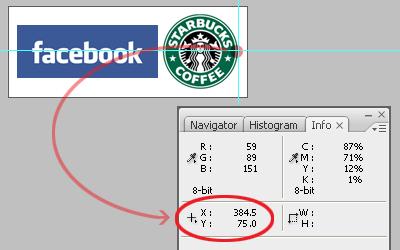 Panneau info de Photoshop CS 3 indiquant les coordonnées du bord droit du logo Starbucks coffee.