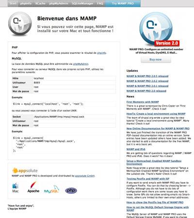 Page d'accueil de Mamp
