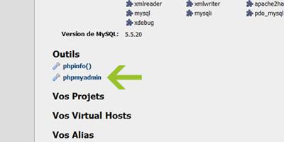 Page d'accueil de Wamp server 2.2