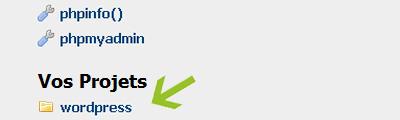Fichier de WordPress dans la page d'accueil de PhpMyAdmin sous Wamp.
