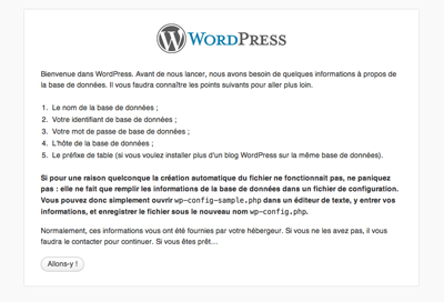 Image de l'étape 1 de l'instalation de WordPress
