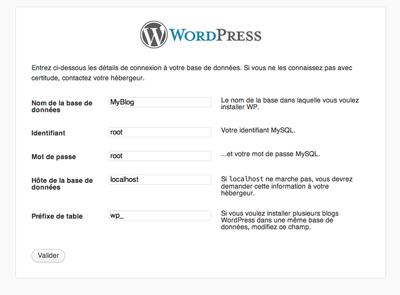 Panneau d'informations sur le site WordPress