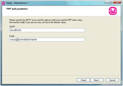 Panneau d'installation numéro 2 de Wamp server