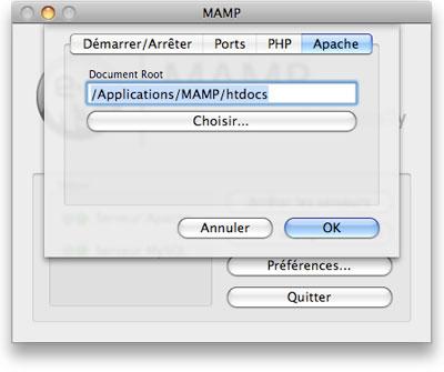 Boîte de dialogue de configuration Mamp