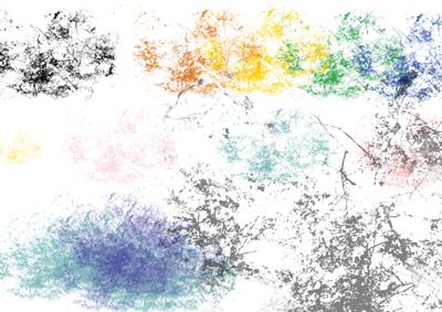 Image final du tutoriel montrant les différents essais de la nouvelle forme de pinceau.