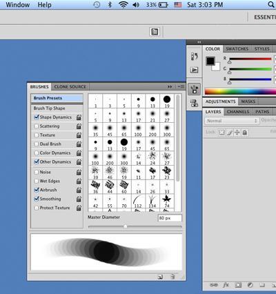 Panneau Formes de Photoshop CS4