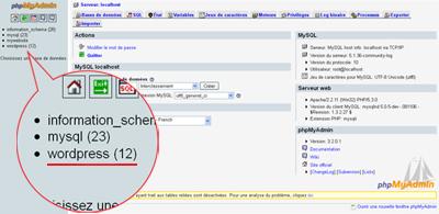 écran d'accueil de phpMyAdmin
