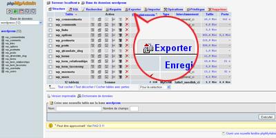 Image du bouton de navigation Exporter de phpMyAdmin
