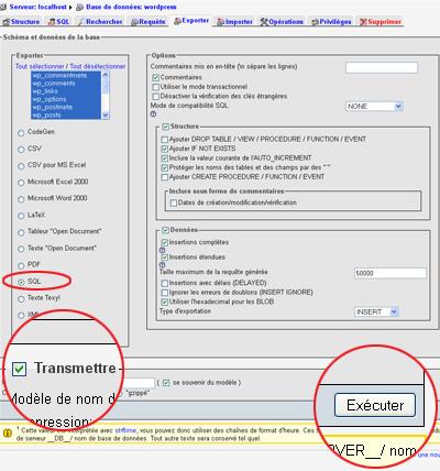 Image de la page d'exportation de la base de données de phpMyAdmin.