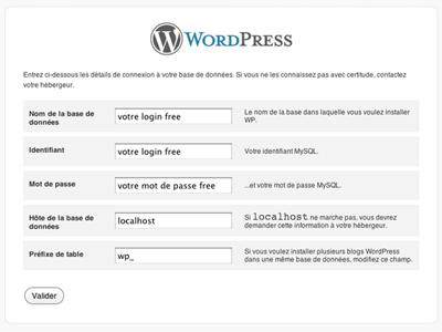 Page de paramétrage de WordPress.